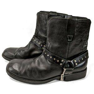 Bed Stu Black Distressed Genuine Leather Biker Boots